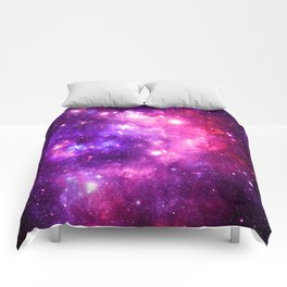 Purple Hot Pink Galaxy Nebula Comforters