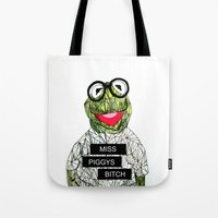 kermit Tote Bags featuring Kermit The Frog by Doodalily Illustrations