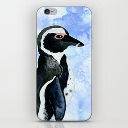 Watercolor Penguin & Ice Blue Watercolor Texture iPhone Skin