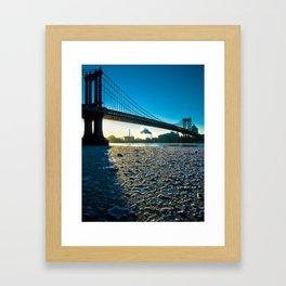 Ice Floe under the Manhattan Bridge Framed Art Print