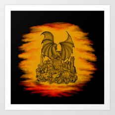 Zombie with Dragon on the Cemetery black and yellow Art Print