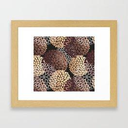 Copper Dahlia Floral Pattern Framed Art Print