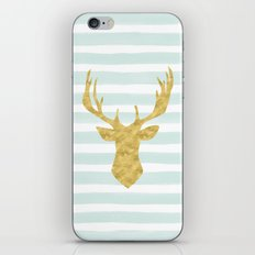 Gold Deer on Mint Watercolor Stripes iPhone & iPod Skin