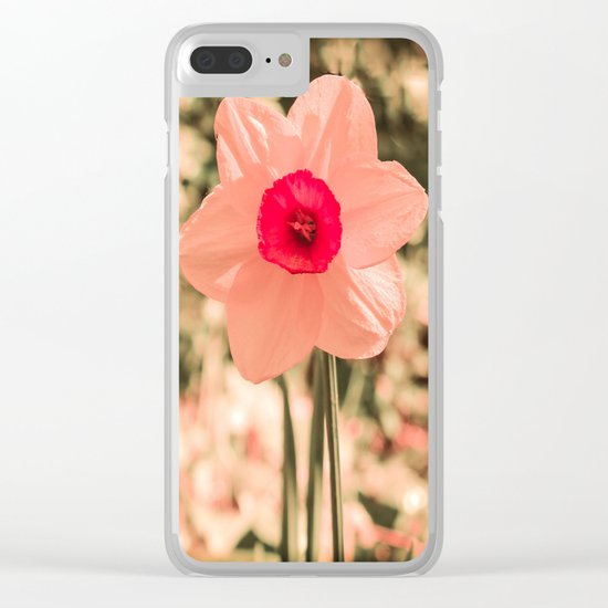 Spring Soft Pink Daffodil Blossom Clear iPhone Case