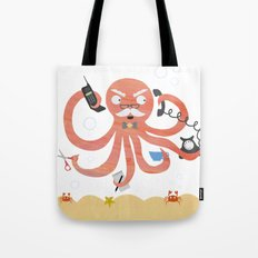 A busy Octopus works in an office Tote Bag