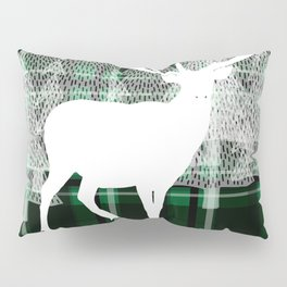 Green Plaid with Deer: Holiday Print Pillow Sham