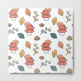 cute lovely autumn fall pattern with birds, mushroom, leaves, branches, acorns and chestnuts Metal Print