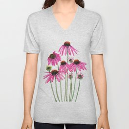 pink coneflowers watercolor Unisex V-Neck