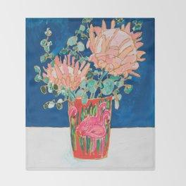 Protea in Enamel Flamingo Tumbler Painting Throw Blanket