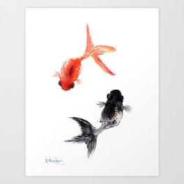 Two KOI , Feng Shui, Fish art, Art Print