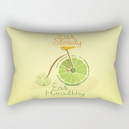 Eat slowly, eat healthy. A PSA for stressed creatives. Rectangular Pillow