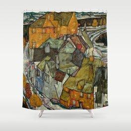 "Egon Schiele ""Crescent of Houses II (Island Town)"" Shower Curtain"