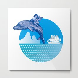 the Angel on the Dolphin and Ship Metal Print