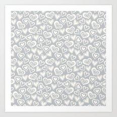 MESSY HEARTS: IVORY GRAY Art Print