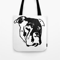 pitbull Tote Bags featuring COACH - BLACK by Kirk Scott