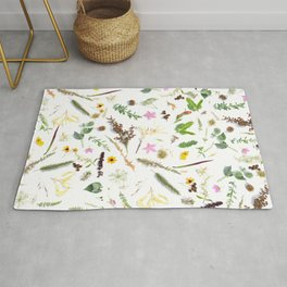 Girly country chic green pink brown cute flowers Rug