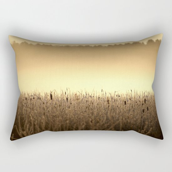 Bed Of Reeds In Golden Hour Rectangular Pillow