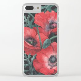 Poppies on Dark Background Clear iPhone Case