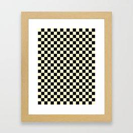 Black and Cream Yellow Checkerboard Framed Art Print