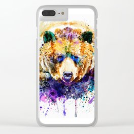 Colorful Grizzly Bear Clear iPhone Case