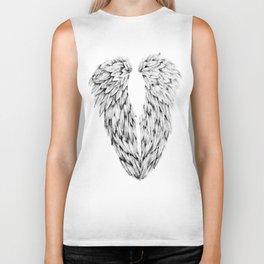 Black and White Angel Wings Biker Tank
