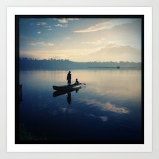 Sampaloc Lake Fishing Art Print