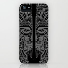 Gray and Black Aztec Twins Mask Illusion iPhone Case