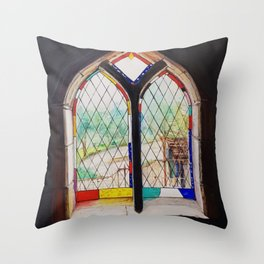 Stained Glass window in Montsalvat Throw Pillow