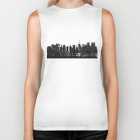 playstation Biker Tanks featuring New York black and white high quality art print by eARTh
