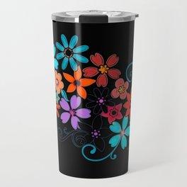 Colorful Flowers on black background Travel Mug