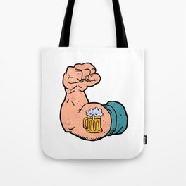 arm flexed with beer tattoo Tote Bag