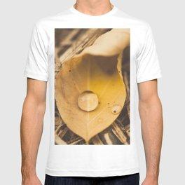 Yellow drop on a leaf T-shirt