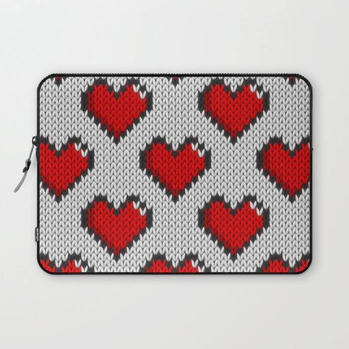 Knitted heart pattern - white Laptop Sleeve by knittedcake | Society6