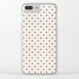 Elegant white modern faux gold glitter polka dots Clear iPhone Case