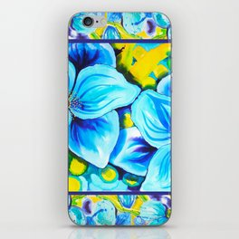 Blue Poppies 3 with Border iPhone Skin