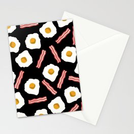 Eggs and Bacon kids room decor boys and girls black room nursery foodie breakfast Stationery Cards