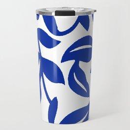 PALM LEAF VINE SWIRL BLUE AND WHITE PATTERN Travel Mug