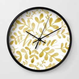 Watercolor home foliage – yellow Wall Clock