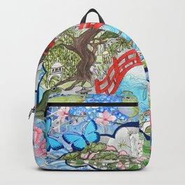 Japanese  Garden watercolor biophile paradise Backpack