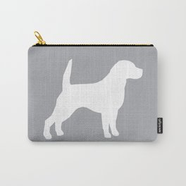 Beagle dog silhouette grey and white simple basic dog breeds art beagles dog Carry-All Pouch