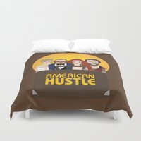 movie poster Duvet Covers featuring American Hustle Movie Poster by Gary  Ralphs Illustrations