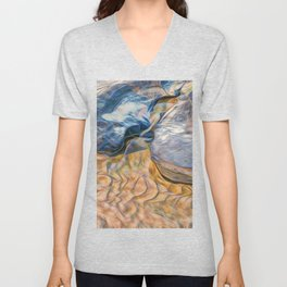 Abstract beautiful rocks on the sand Unisex V-Neck