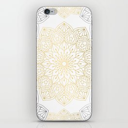 Gold Silver Mandala Pattern Illustration iPhone Skin