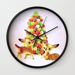 Vintage Fawns by Gumdrop Tree Wall Clock