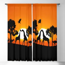 Giraffe silhouettes at sunset Blackout Curtain