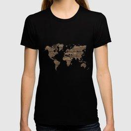 Rustic world map T-shirt