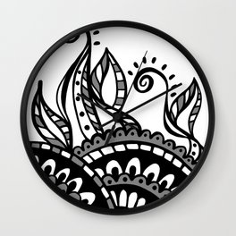 Leafy Lace Medallions - Black on White Wall Clock