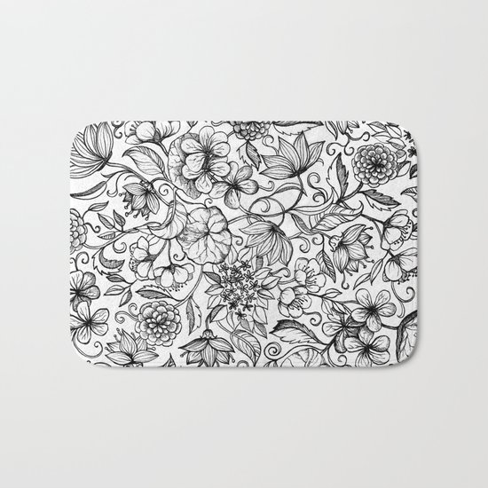 Hand drawn pencil floral pattern in black and white Bath Mat
