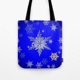 """MORE BLUE SNOW"" BLUE WINTER ART DESIGN Tote Bag"