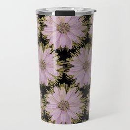 Large Gold & Lilac Flowers On Black Travel Mug